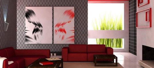 salon design éclairé par des appliques murales LED
